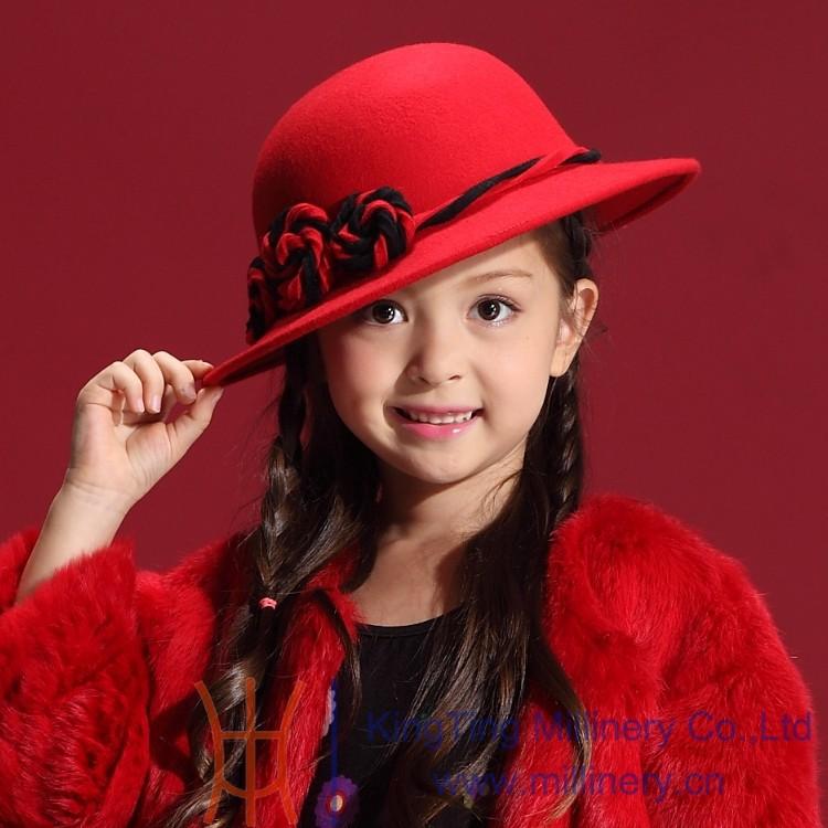 Скидки на Дети зима шляпы 2014 новый 100% шерсть красный аксессуары для волос шапки горячей русский стиль теплый искусственного меховые шапки и шапки