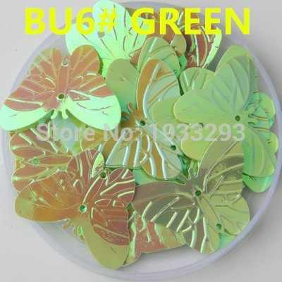 100PCS Green Color 22*30mm Large Butterfly Sequins with 2 holes &Paillette Sewing glitter stickers in children serioms&Clothing(China (Mainland))