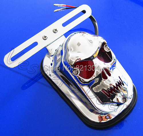 Plastic MOTORCYCLE SKULL INTEGRATED REAR TAIL LIGHT SIDE MOUNT PLATE FOR HARLEY(China (Mainland))