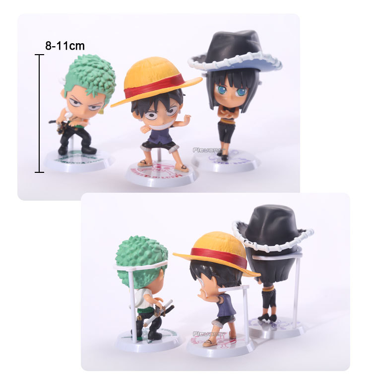 Anime One Piece Luffy Sanji Brook Nami Frank Usopp Robin Chopper Zoro Q Model PVC Motion Figures Toys Dolls 9pcs/set 12cm