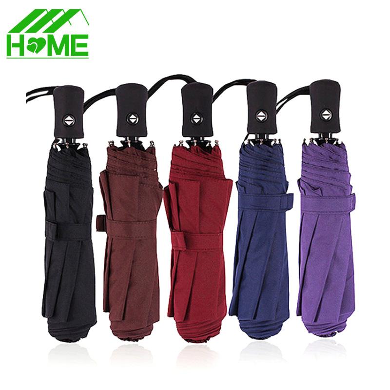 Fashion Fully Automatic Three Folding Umbrella Paraguas Windproof Craft 190T Rainy Foldable Pockets Umbrellas Fit Adults Kids(China (Mainland))