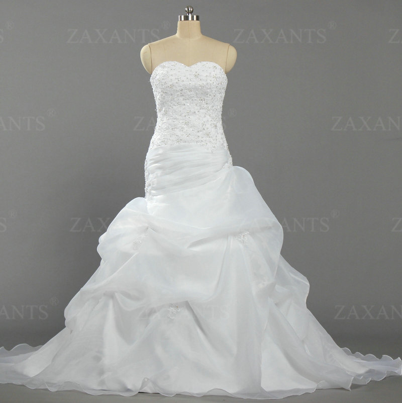 W1371 Women Picked up Organza Rhinestone Lace Long Mermaid Wedding Dresses For Bride(China (Mainland))