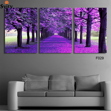 3 Panel Modern Purple Tree Canvas Painting Picture Abstract Printed Landscape Painting For Living Room No Frame Print Picture(China (Mainland))