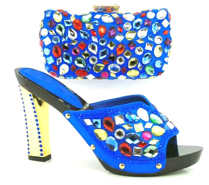 Royal Blue Shoes With Matching Clutch Bag Fashion Multicolor Rhinestones Top Quality Wedding/Party Shoes And Bags Set Size 37-43(China (Mainland))