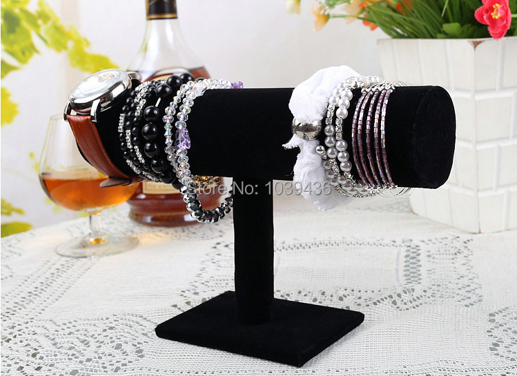 4pcs New Velvet Bracelet Necklace Watch T-Bar Jewelry Display Stand Rack Black Free Shipping(China (Mainland))