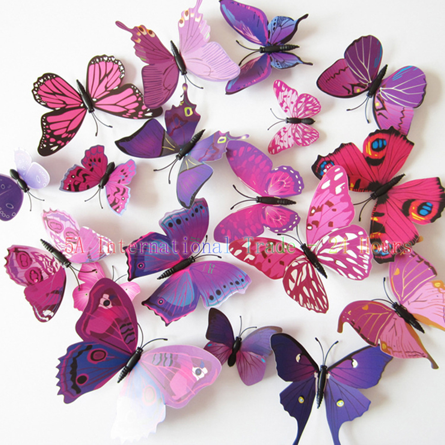 produto Wholesale PVC Decoration Hogar 3D Butterfly Sticker Stickers on the Wall Muursticker For Room Decoration