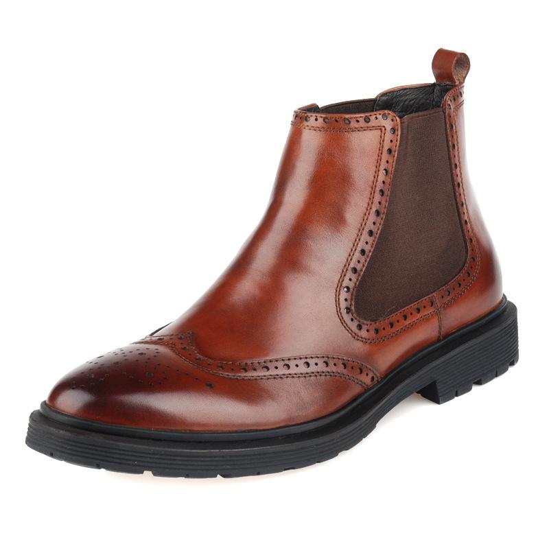 Здесь можно купить  2014 new winter boots fashion leather Bullock carved men high help business boots head layer cowhide men