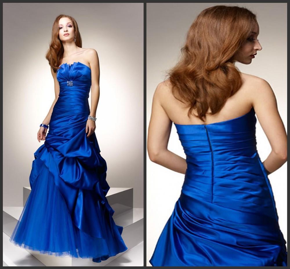 Distinctive Strapless Pleat Asymmetric Waist Bubble Satin and Tulle wedding dresses blue sapphire(China (Mainland))