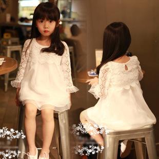 wholesale 20pcs girls kids 2015 beautiful lace dress children hollow flowers princess dress via express shipping(China (Mainland))