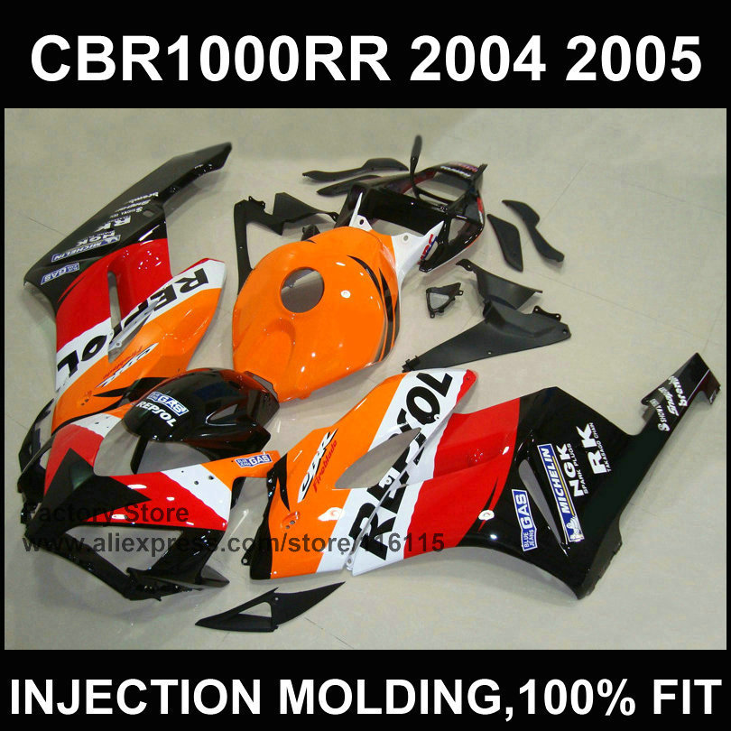 Orange repsol fairing kit for HONDA CBR 1000RR Injection mold fairings 2004 2005 cbr1000rr 04 05 ABS plastic bodyworks(China (Mainland))