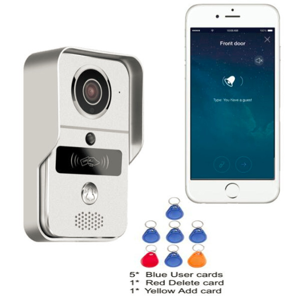 Wireless SD Card Video Recording Video Door Phone+RFID Keyfobs+Indoor Bell Wifi IP Door Bell POE Camera For ONVIF Connect NVR(China (Mainland))