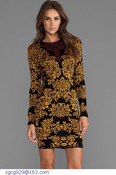 sale vestido vintage gold vines retro print o neck