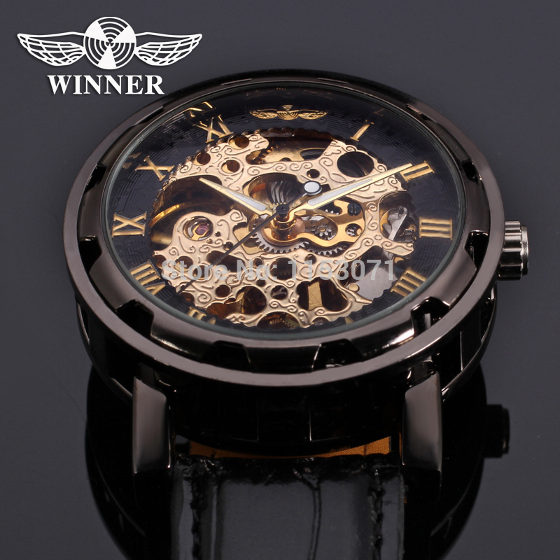 WRG8008M3B2 2015 Winner men montres hand wind skeleton fashion black luxury watch relojes with watch box high quality orologio(China (Mainland))
