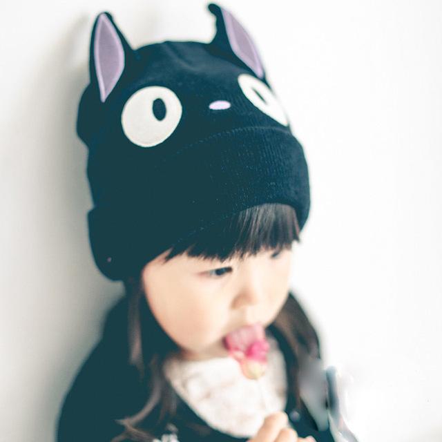 2015 прекрасный кот лицо шапочка черные дети шляпы cap ребенка шляпу фотографии реквизит ребенка шапочки шапочки для детей