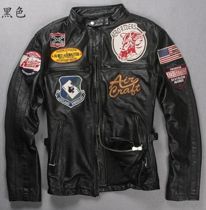 Free shipping ! 2013 men brand Genuine Leather cowhide locomotive leather jacket Motorcycle clothing Racing suits ! M-3XL(China (Mainland))