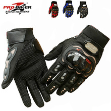 NEW PRO knight  Full Finger Protective Gear  Black Carbon Fiber Pro-Biker Bike Motorcycle Motorbike Racing Gloves Luvas M/L/XL(China (Mainland))