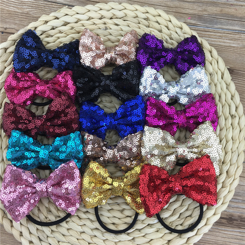 Sequin Bow Hairband 3inch Sequin Hair Ribbon Bows with Black Hair Band Hair Ties Bow Headband for Hair Accessories 16pcs/lot(China (Mainland))