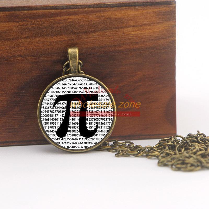 ZA0061,Retail 1pcs/lot glass dome jewelry PI Necklace Math Jewelry Teachers, Science, Mathematics Black and White Art necklace(China (Mainland))