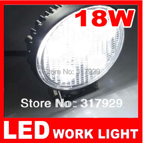"4.33"" 1pcs New 12V LED Work Light 18W Round Flood Offroad Fog Light  For Car Vehicle Boat Tractor ATV UTV Reverse Truck 4x4"