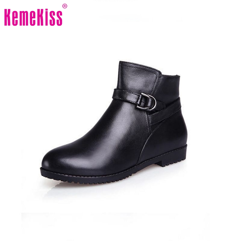Free shipping half ankle short natrual real genuine leather flat boots women snow boot shoes R3050 EUR size 34-39(China (Mainland))