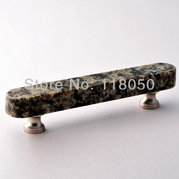 2pcs Free Shipping Kitchen Hardware,96mm Bar Drawer Pulls Cabinet Door Handles,China Green Granite and Brass Base with Screws(China (Mainland))
