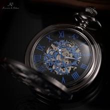 KS Brand Retro Blue Roman Skeleton Relogio De Bolso Men Hand Wind Mechanical Watch Necklace Clock