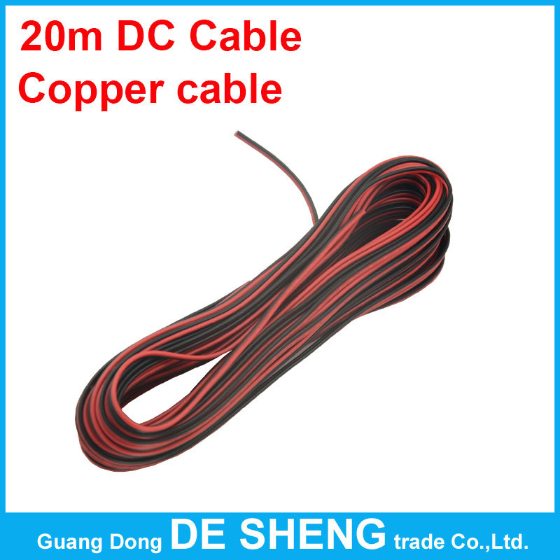 Гаджет  20m DC electric cable, 22awg 2pin copper wire,PVC Insulated Wire, for led strip smd 5050 3528 5630 Single color Extension Wire None Свет и освещение