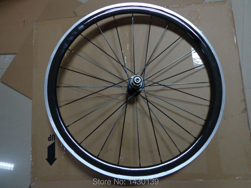 1pcs New 700C 38mm clincher rim Road Track Fixed Gear bike carbon bicycle wheelset with alloy brake surface aero spoke Free ship<br><br>Aliexpress