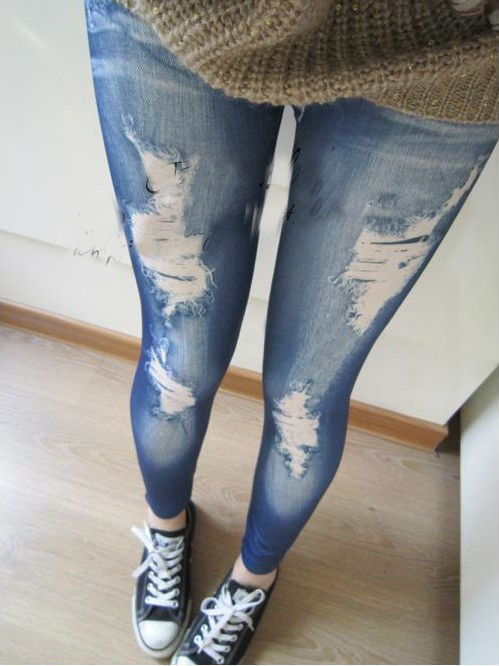 drop-Shipping-Women-Stretch-Coon-Fake-Hole-Imitation-Jeans-polyester-spandex-Leggings-sexy-pants-2015