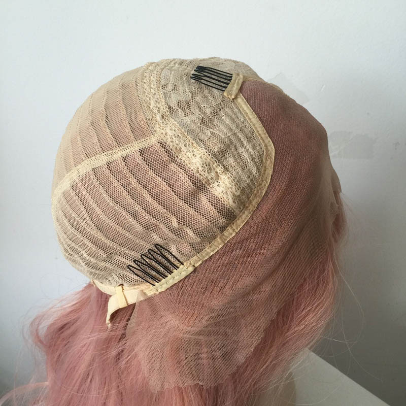 New Fashion Top Quality Pink  Natural Wave Wig Synthetic Lace Front Wigs For Women Heat Resiatnt Fiber Hair  As Picture Color