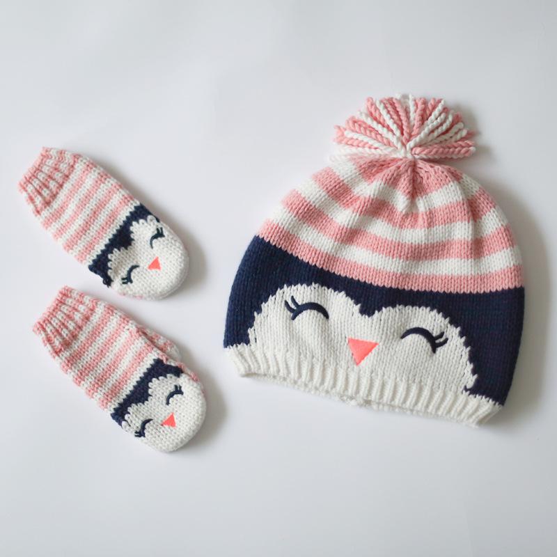 Cotton Baby Hat Girls Warm Mittens Cartoon Owl