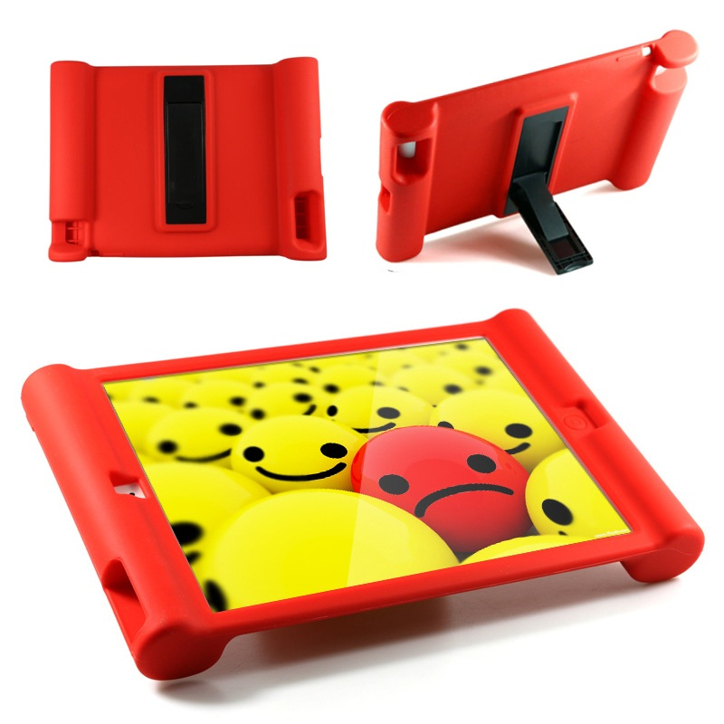 Silicone Shockproof Drop Protection Cover with Kickstand for iPaid 4/3/2 - Red(China (Mainland))