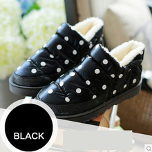 2015 de la alta calidad de los lunares de piel caliente a prueba de agua plana botas mujeres nieve del invierno botas para para mujer de invierno de algodón tobillo zapatos(China (Mainland))