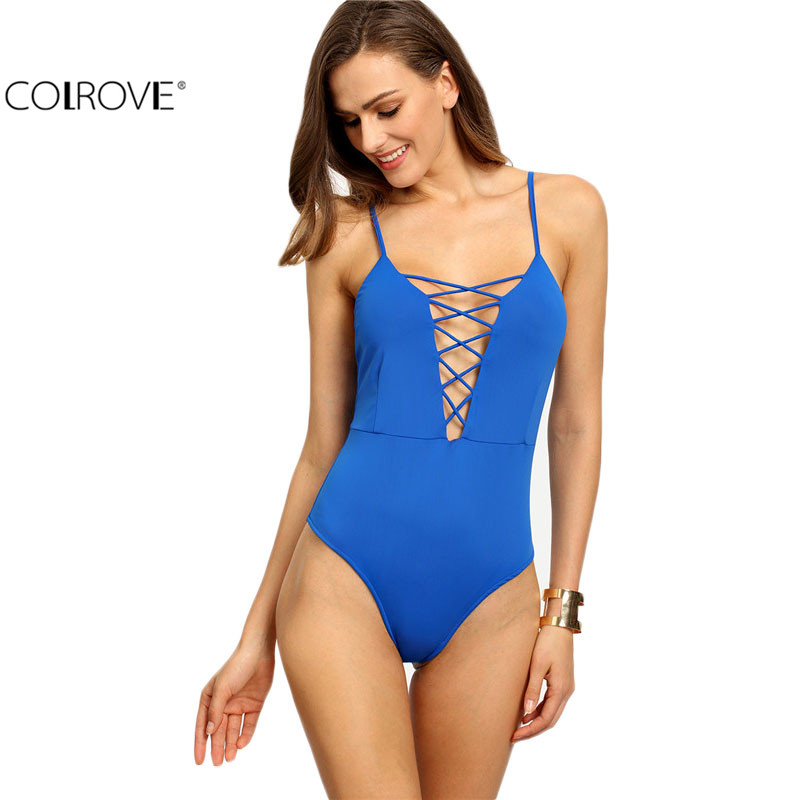 COLROVE Plain Blue Spaghetti Strap Criss Cross Plunge Tops Summer Sexy Deep V Neck Sleeveless Backless Bodysuit(China (Mainland))