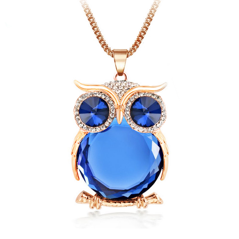 8 Colors Trendy Owl Necklace Fashion Rhinestone Crystal Jewelry Statement Women Necklace Silver Chain Long Necklaces & Pendants(China (Mainland))