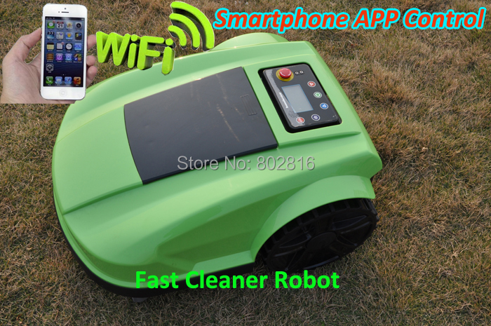 2015 4th Generation Robot Smartphone Wifi App Wireless Auto Grass Mower With Water-Proofed Charger,400m virutal wire+400pcs pegs(China (Mainland))