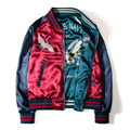 P819 Embroidery Chinese style silk high quality bomber jacket Spring Autumn fashion classic both sides wear
