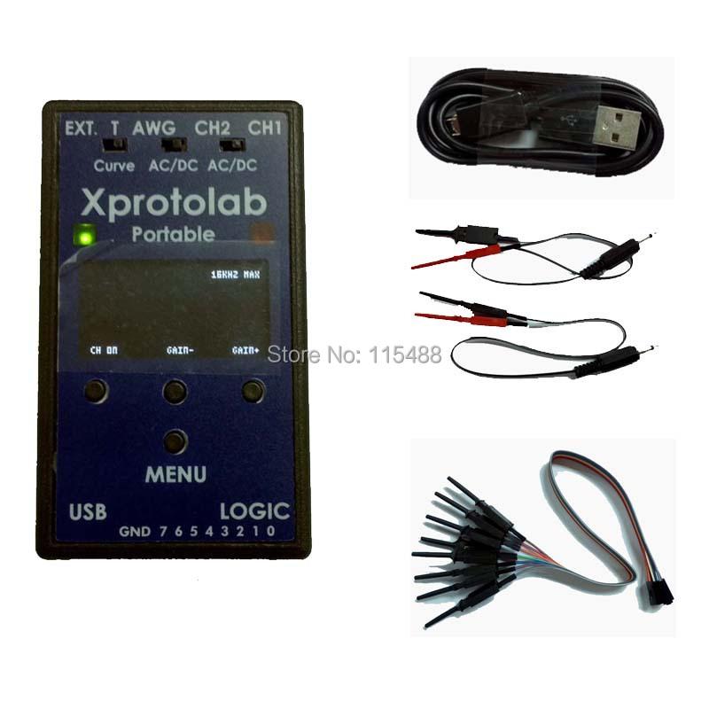 Xprotolab Portable Oscilloscope Logic Analyzer Sniffer AWG MSO FFT XMEGA32 1.3'OLED 2Msps(China (Mainland))