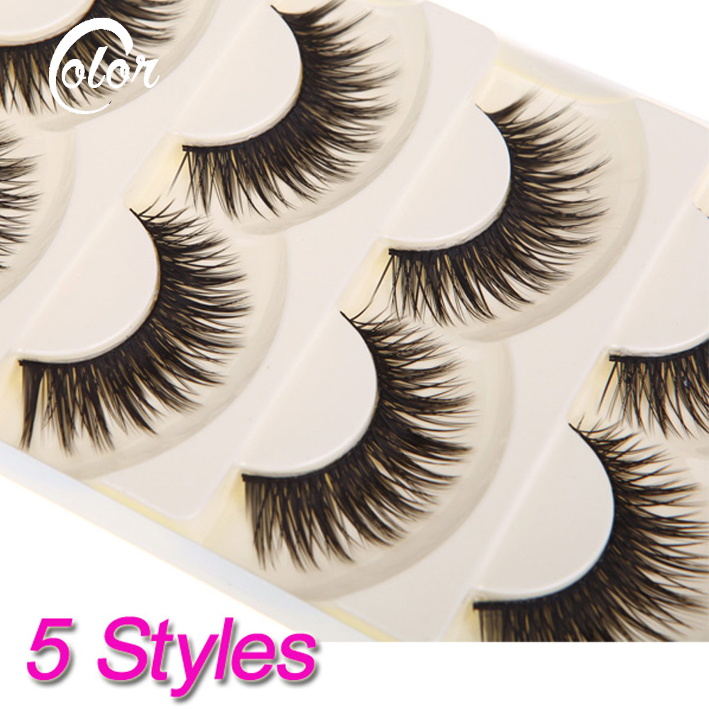 Fashion 5 Pair Thick Long False Eyelashes Eyelash Fake Eye Lashes Voluminous Makeup - Color Your Life store
