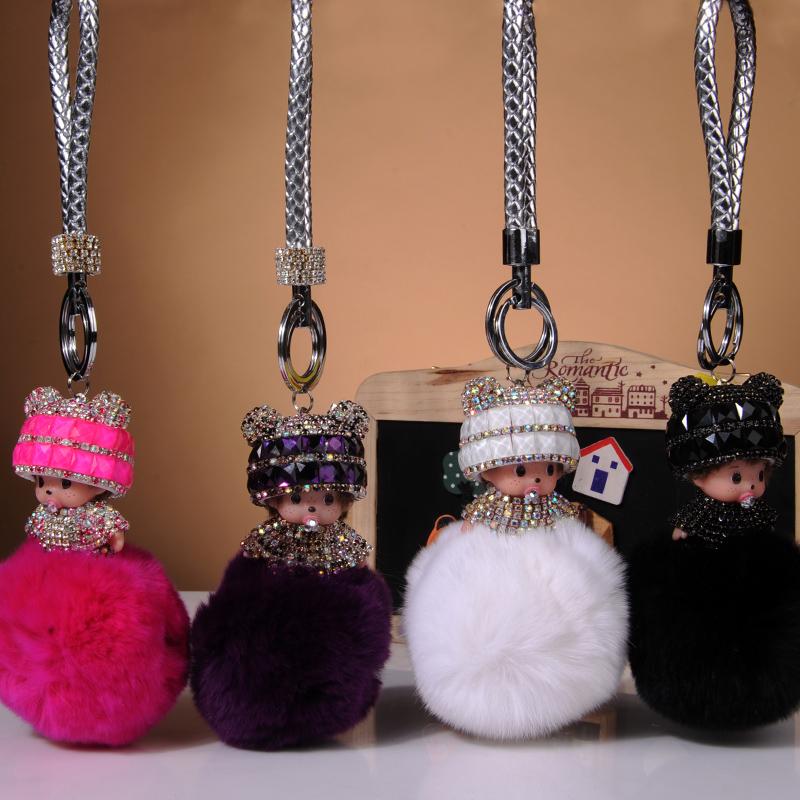 Cute Crystal Rhinestone monchichi keychains fur pom pom keychain fluffy rabbit fur ball key chain woman bag Accessories key ring(China (Mainland))