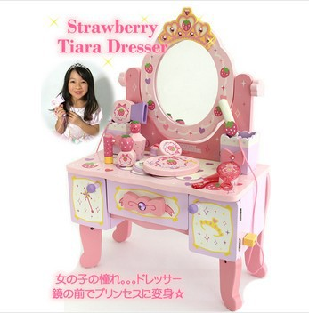 Free Shipping!Baby Toys Simulation Dressing Table Furniture Pretend Play Toys Girls Princess Baby Toys Wooden Toy Girls Gift(China (Mainland))