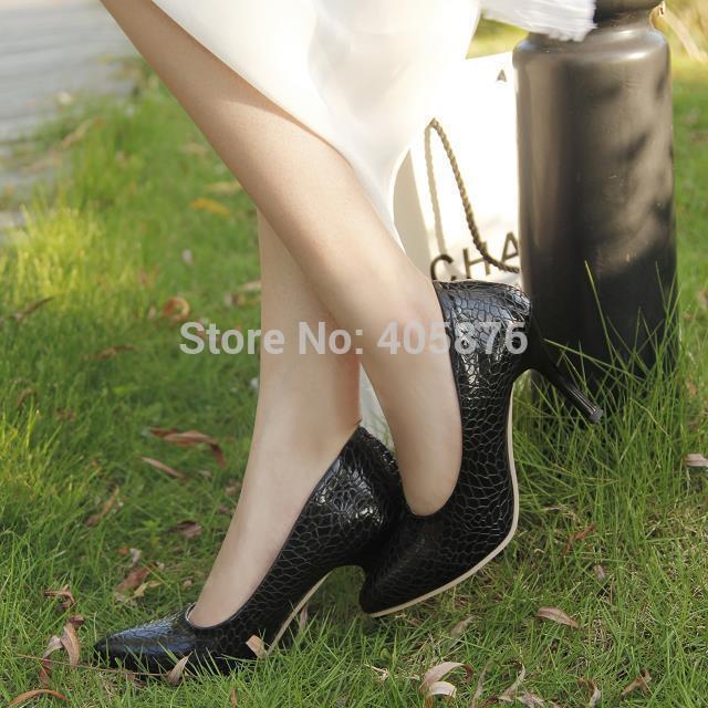Sexy Pumps Ladies Crocodile Grain pattern pointed toe High Heels Stilettos Shoes Size US 4-8