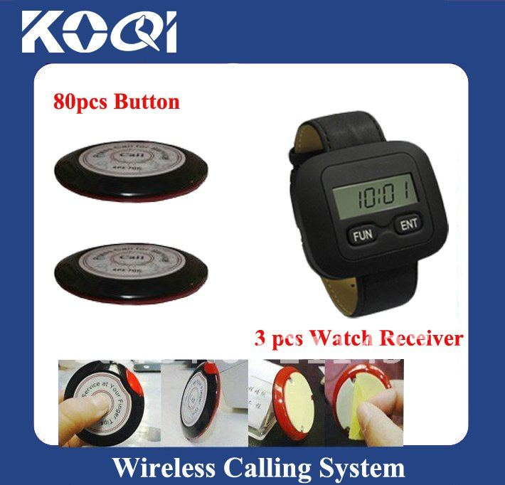 Wireless server paging system, 80pcs of call bell and 3 pcs of wrist waiter pagers(China (Mainland))