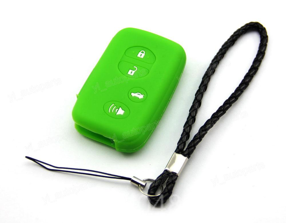 Green Silicone Protective Case Cover Holder Fit For Toyota Highlander Prius C Venza Land Cruiser Camry Remote Smart Key 4 Button(China (Mainland))
