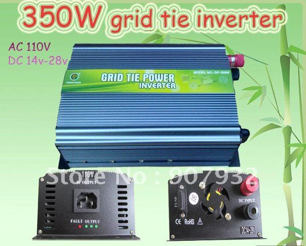 350W Grid Tie Inverter for Solar Panel 14V-28V DC(350 watt, 110V, High Efficiency, Free Shipping)