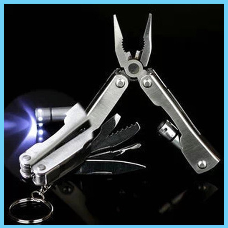 Free Shipping! Outdoor Survival Stainless Steel 9 In 1 Multi Tool Plier Portable Compact Knives Led lights<br><br>Aliexpress