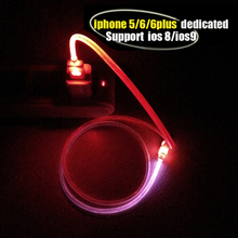 Free shipping Visible Flashing LED Light Charger Data Sync Cable For iphone 5 5C 5S ipod Touch 5 Nano 7 ipad Mini ipad 4