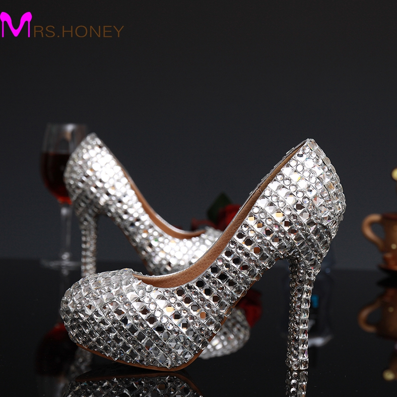 2016 New Fashion Silver Woman Platform Shoes Crystal High Heels Shoes Crystal Rhinestone Round Toe Lady's Party Proms(China (Mainland))
