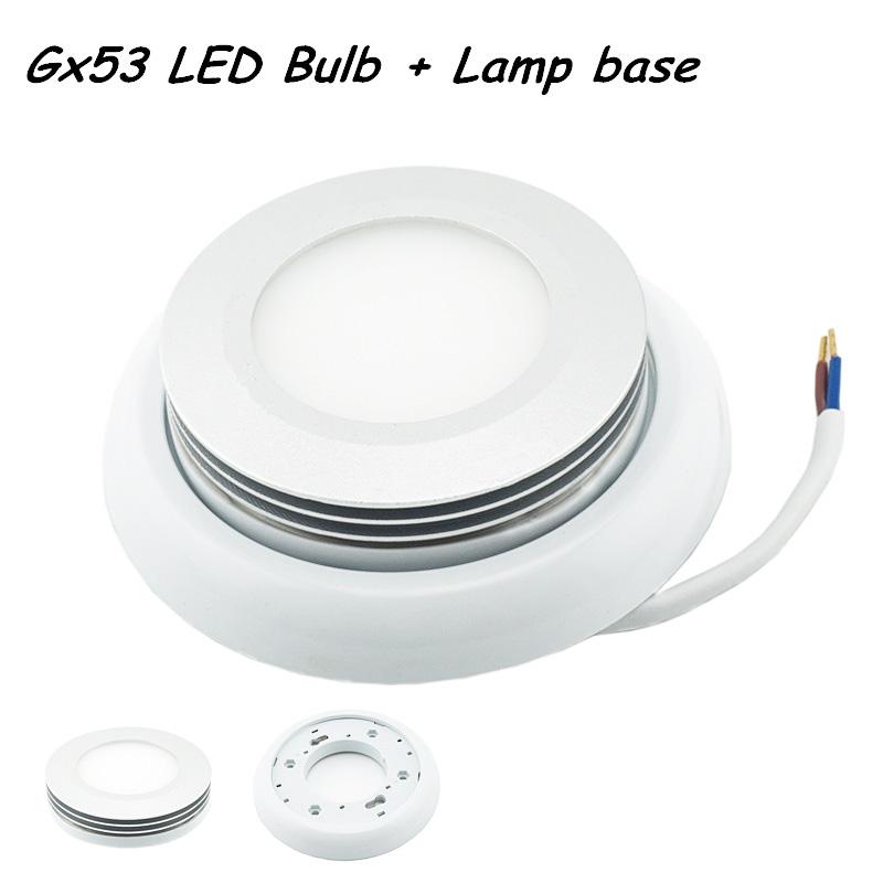 NEW Style Set Aluminum GX53 LED Bulb with Lamp Base 5W 85-265V AC 5730 SMD LED Model Downlight Ultra Bright Lights(China (Mainland))