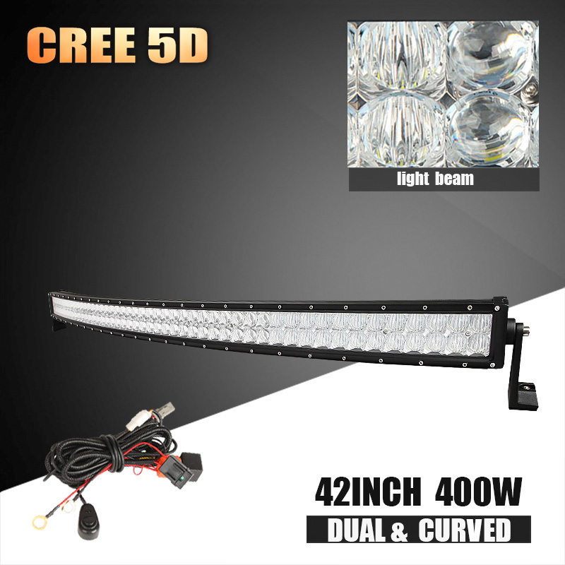 42inch 400w CREE 5D LED light bar curved Offroad combo beam work bar light for tractor truck trailer SUV ATV 12v 24v auto lamps(China (Mainland))